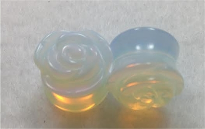 Pair of Natural Opalite Stone Rose Cut Saddle Plugs