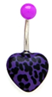 Acrylic Purple and Black Cheetah Animal Print Bellybutton Navel Piercing Bar Jewelry Ring 14G 3/8""