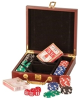 Rosewood Finish 100 Chip Poker Set