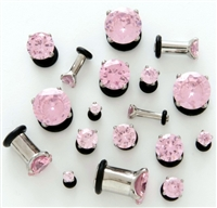 Pair of 316L Surgical Steel Plug with Pink Prong Set Gem with O-Ring