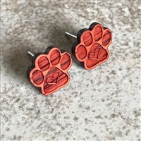 Paw Print Earrings made with organic Padauk exotic Hardwood