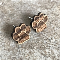 Paw Print Earrings made with organic Zebrawood exotic Hardwood