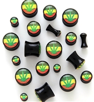 Pair of Pot Leaf Black Acrylic Solid Plugs
