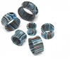Pair of Striped Blue Agate Stone Tunnels
