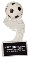 6 1/2 inch Clear Soccer Splash Sculpted Ice Award