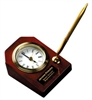 3 5/8 x 4 3/4 Rosewood Piano Finish Desk Clock with Pen
