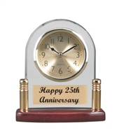 5 3/4 x 6 1/8 Arch Glass & Piano Finish Desk Clock with Posts