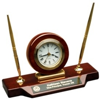 9 x 4 3/4 Piano Finish Desk Clock on Base with 2 Pens