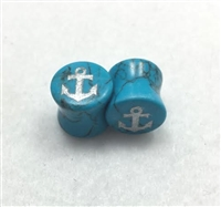 "PAIR of Turquoise ""Anchor"" Stone Plugs"
