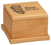 6 x 6 Red Alder Pet Urn with Laserable Lid