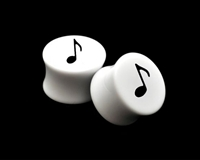 "Pair of Solid White Acrylic ""Music Note"" Plugs"