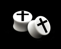 "Pair of Solid White Acrylic ""Cross"" Plugs"