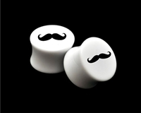 "Pair of Solid White Acrylic ""Mustache"" Plugs"