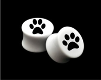 "Pair of Solid White Acrylic ""Paw Print"" Plugs"