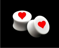 "Pair of Solid White Acrylic ""Heart"" Plugs"
