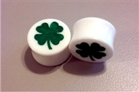 "Pair of Solid White Acrylic ""Four Leaf Clover"" Plugs"