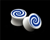 "Pair of Solid White Acrylic ""Spiral"" Plugs"
