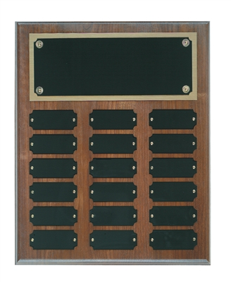 18 Plate Genuine Walnut Completed Perpetual Plaque
