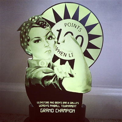 Custom Personalized Women's LED Pinball Themed Trophy Award