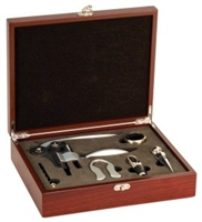 Rosewood Finish 5-Piece Wine Tool Set
