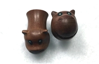 "Pair of Handmade ""Hippo"" Carved Organic Plugs"