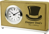"Personalized Leatherette Horizontal Desk Clock 7.5"" x 4.5"""