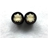 "Pair of Handmade ""Lotus Flower"" Carved Organic Plugs"