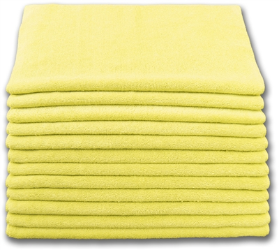 Microfiber Cloth - Terry 12 x 12 230gsm - Yellow Bulk Case of 300