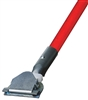 Dust Mop Handle - Red Fiberglass 60 Inch - Clip On Style - Dozen