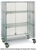 SEC55DC - Metro 4 Shelf Mobile Chrome Security Storage Unit