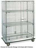 SEC56LC - Metro 4 Shelf Heavy Duty Mobile Chrome Security Storage Unit
