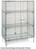 SEC63C - Metro 4 Shelf Stationary Chrome Security Storage Unit