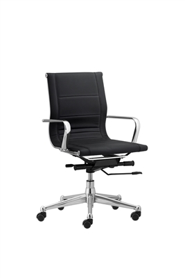 Florence Mid Back Task Chair Black with Metal Arms