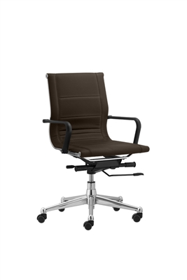 Florence Mid Back Task Chair Brown with Soft Arms