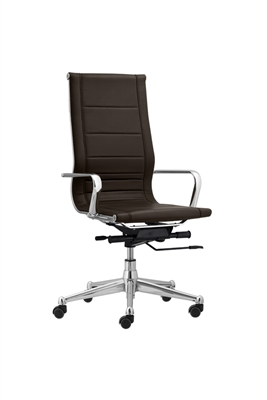 Florence High Back Task Chair with Metal Arms - Brown