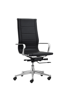 Florence High Back Task Chair with Metal Arms - Black