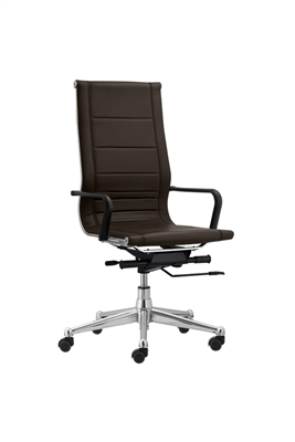 Florence High Back Task Chair with Soft Arms - Brown