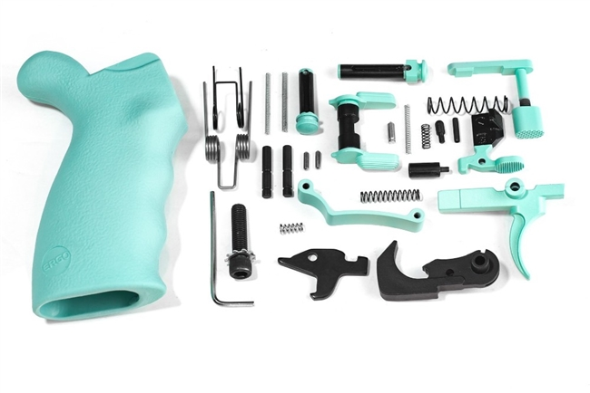 Robins Egg Blue Complete Ambidextrous Lower Parts Kit with Ergo Overmolded Grip