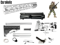 AR 15 Build Kit with Upper Receiver -COLOR OPTIONS -Shown Here in Satin Aluminum