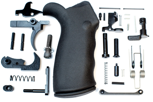A&A AR-15 Lower Parts Kit with FCG and Black Rubber Overmolded Grip