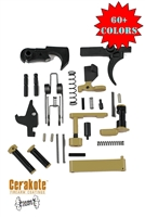 Colored AR 15 Lower Parts Kit-Complete Lower Parts Kit w/Black FCG and Grip in your choice of color