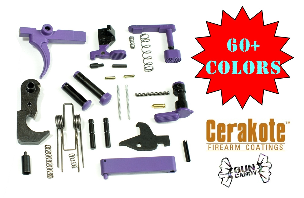 AR15 Lower Parts Kit - 60+ Colors - Shown in Bright Purple