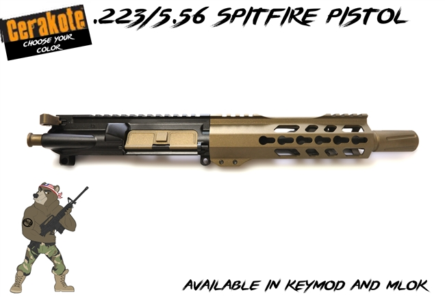 "Spitfire 223/556 - 7.5"" Free Float Upper Assembly - Available in several colors - shown here in Burnt Bronze and Blue Titanium Cerakote"