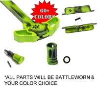 Battleworn Fiery Biohazard© Upper Parts Kit:  Includes A2 Flash Hider