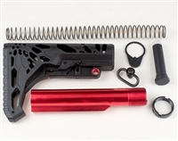 Skeletonized  Stock W/Red Anodized Buffer Tube Kit