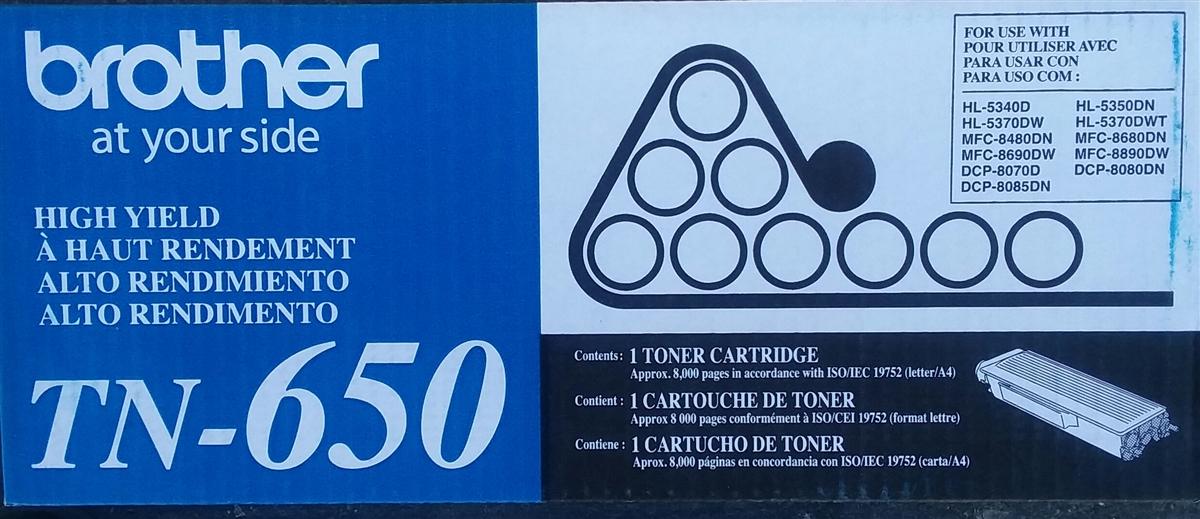 GENUINE OEM BROTHER TN650 TN-650 BLACK TONER CARTRIDGE