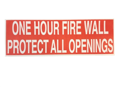 1 HOUR FIRE WALL STICKER  50 PACK  RED  One hour fire wall sticker