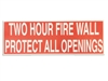2 HOUR FIRE WALL STICKER  50 PACK  RED  Two hour fire wall sticker