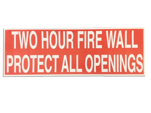 2 hour fire wall sticker 50 pack red