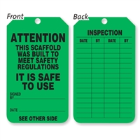 Scaffold Status Tag - Green  (PACK OF 25)